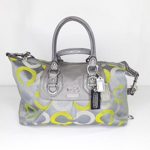 Coach Madison Op Art Sabrina Satchel Tote Lime Gra